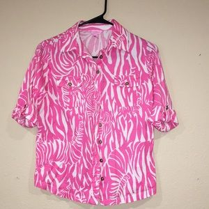 LILLY Pulitzer pink zebra button down size S